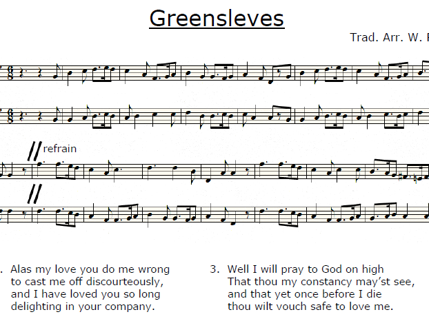 Greensleeves arranged for two voices