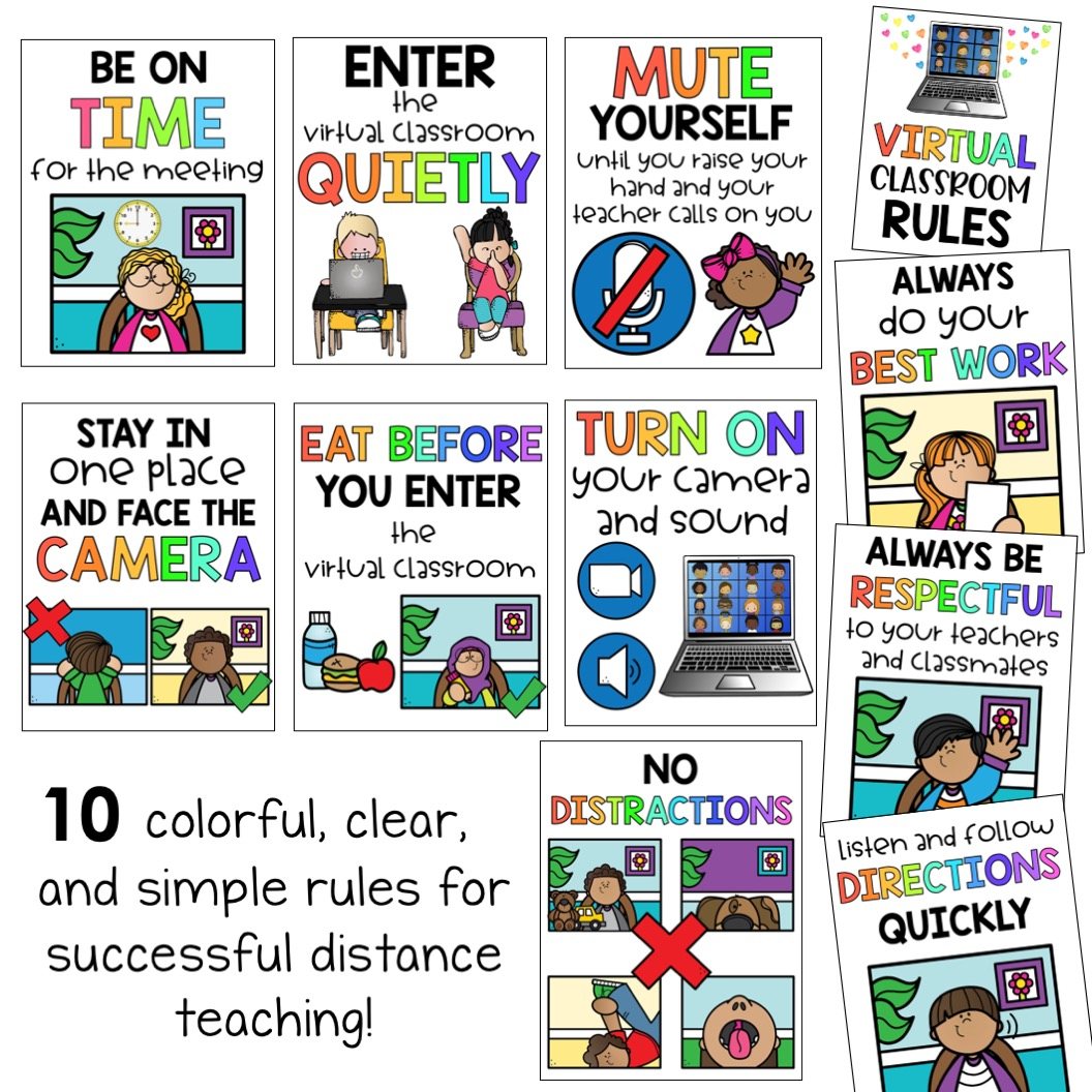 Virtual Classroom Rules Zoom And Google Hangout Behavior Expectations Teaching Resources