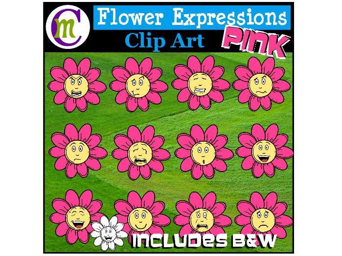 Flower Emotions Clipart | Pink Flowers Clip Art