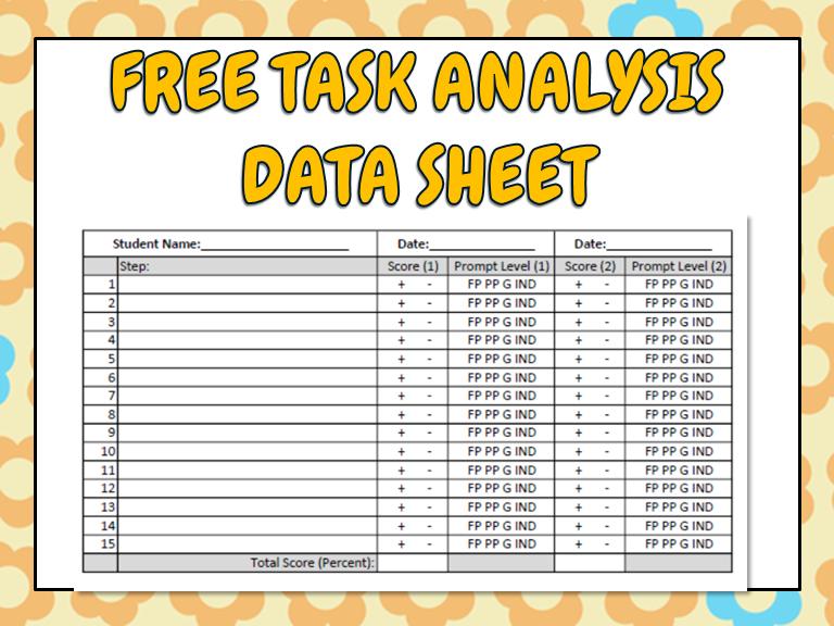 FREE Task Analysis Data Sheet - Fillable PDF File