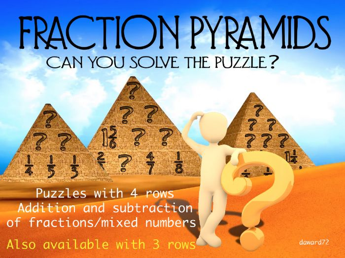 FRACTION PYRAMIDS (4rows) - Number Pyramids but with fractions +ANSWERS +BLANKS + CLIPART