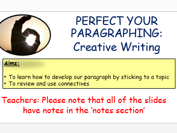 Paragraphing Skills  - Creative Writing Lessons
