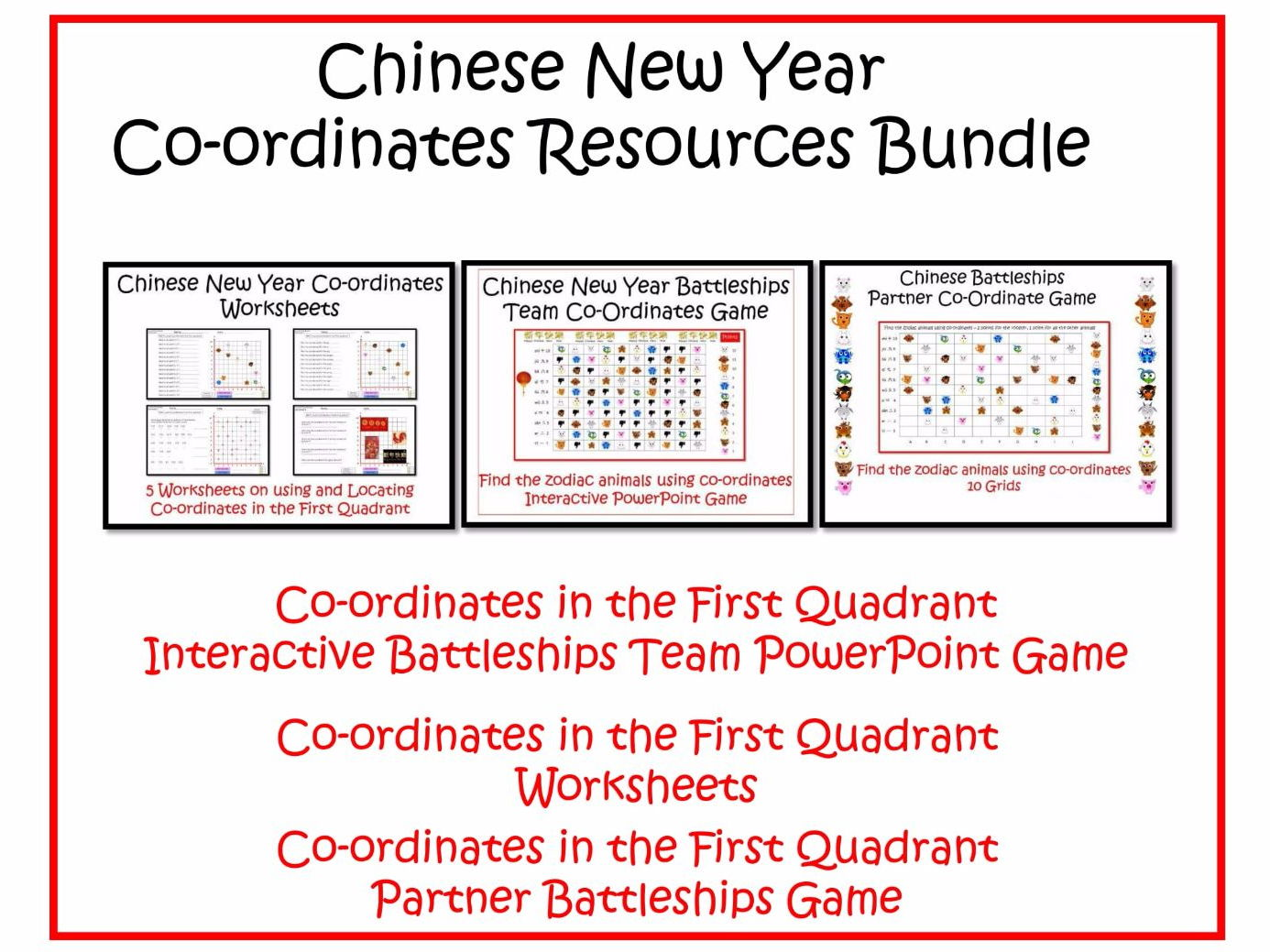 Chinese New Year Themed Co Ordinates In The First Quadrant Set Of
