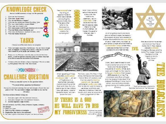 Judaism: The Holocaust - Task Mat