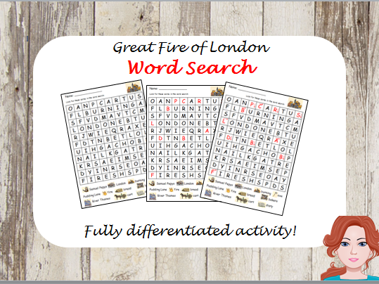 Great Fire of London - wordsearch (differentiated)