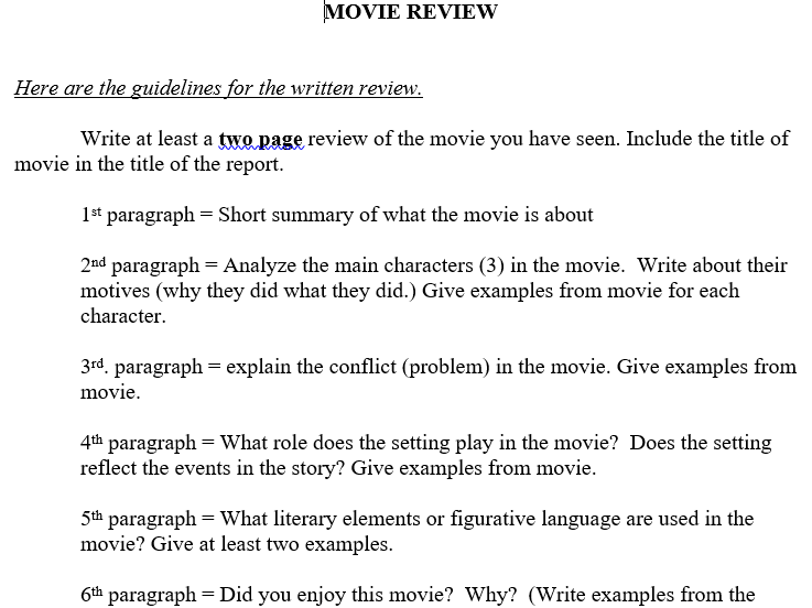 Movie/Book Review Multi-paragraph Essay Format