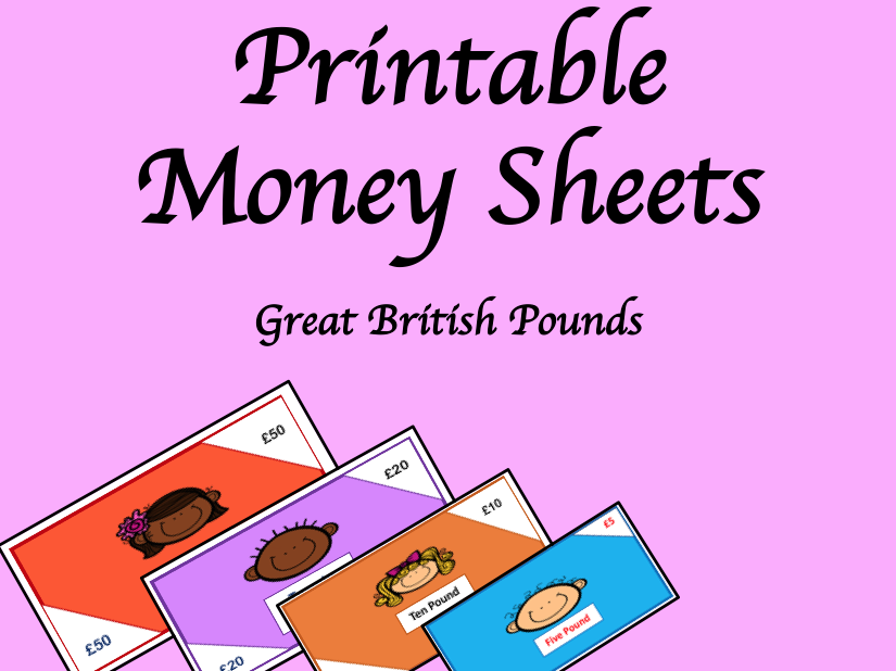 Printable Money- Great British Pounds