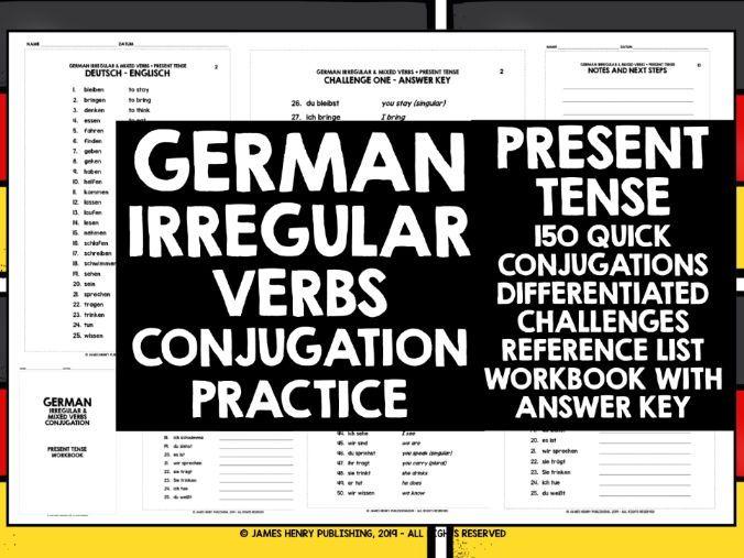 GERMAN IRREGULAR VERBS PRESENT TENSE CONJUGATION