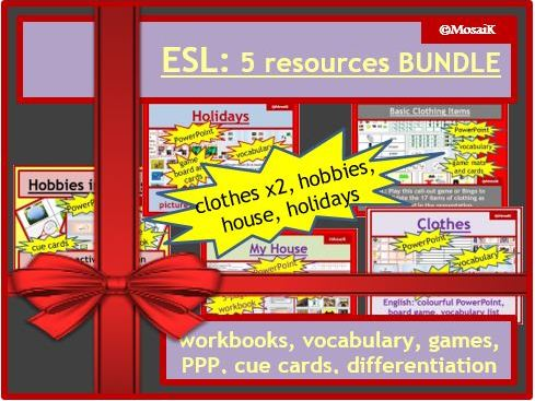Home Learning English ESL BUNDLE house, holidays, clothes, hobbies