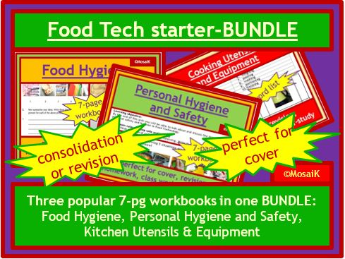 Food Technology 3x 7page work books on food hygiene, safety, cooking utensils and equipment