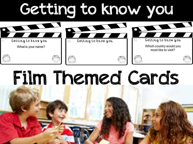 Back to School Activity: Getting to Know you Task Cards: Film Themed Border
