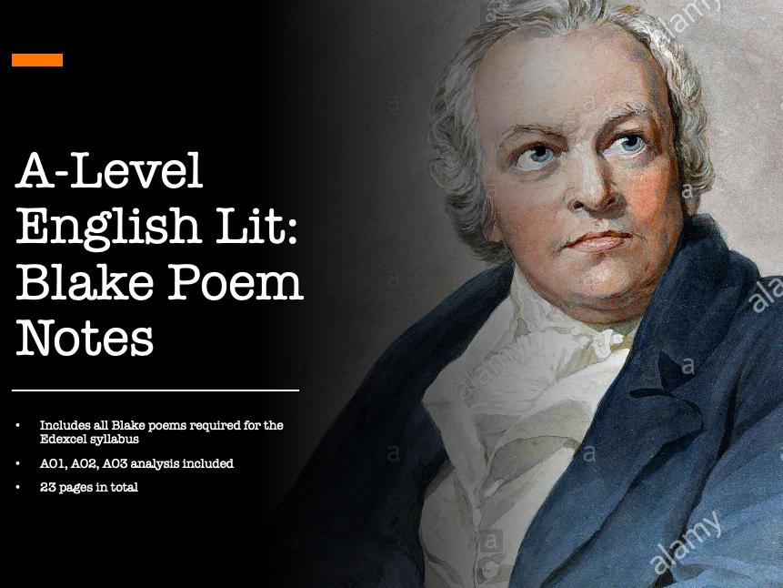 A Level Edexcel English Literature 'The Romantics' William Blake Poems Notes