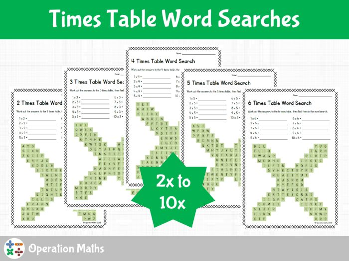 Times Table Word Searches