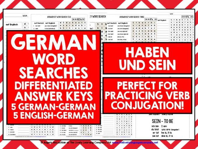 GERMAN HABEN UND SEIN WORD SEARCHES