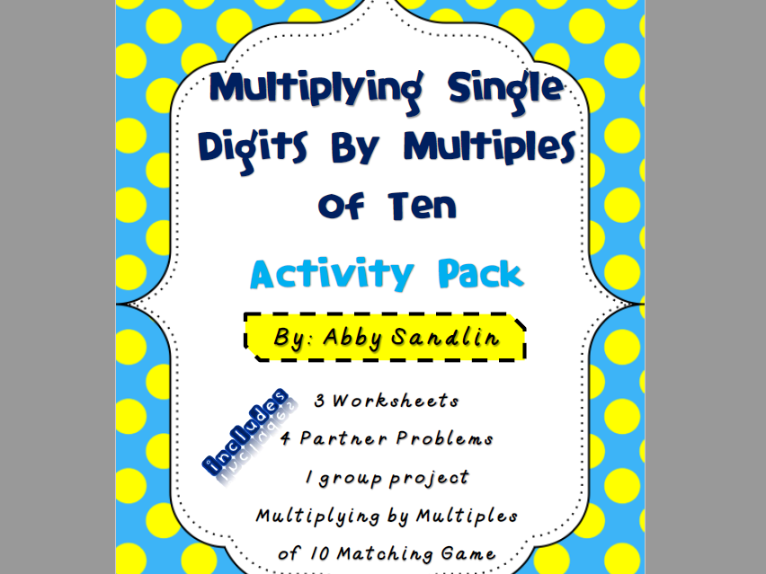 Multiplying Single Digits by Multiples of 10 Activity Pack