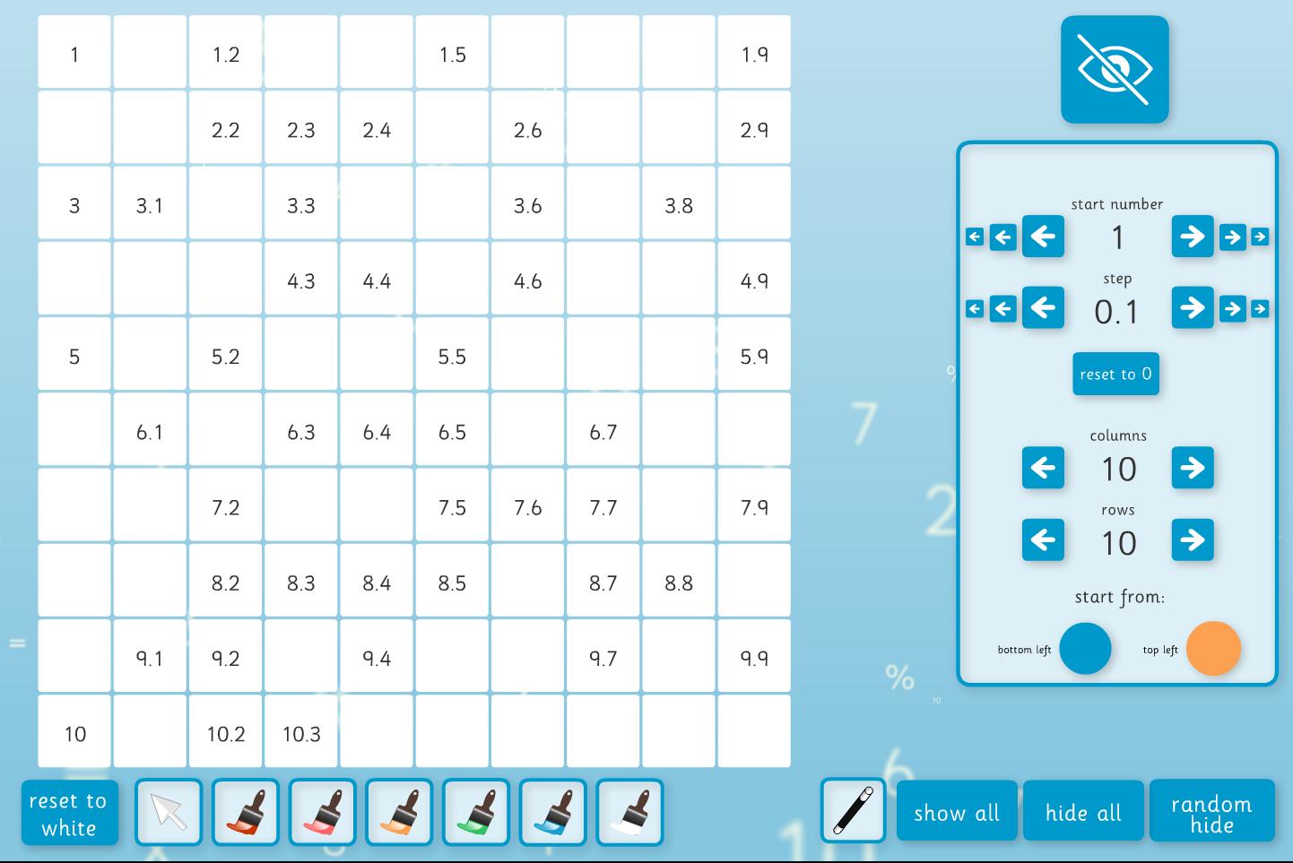 Interactive Number Square Tool (Decimals) - KS2 Number