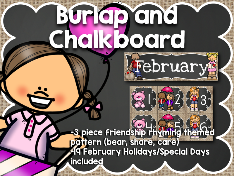 February Calendar: Burlap and Chalkboard