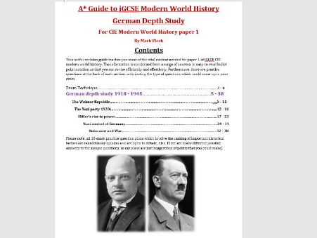 German Depth Study iGCSE CIE revision guide