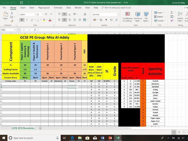 EDEXCEL GCSE PE Grade Calculator/Tracker/Assessment Spreasheet