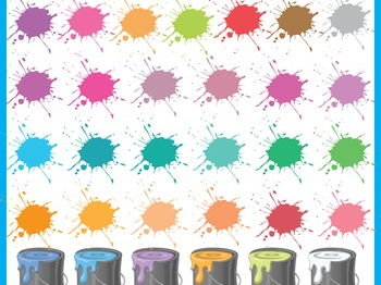 Paint Splash Clip Art, Paint Buckets, Personal and Commercial Use