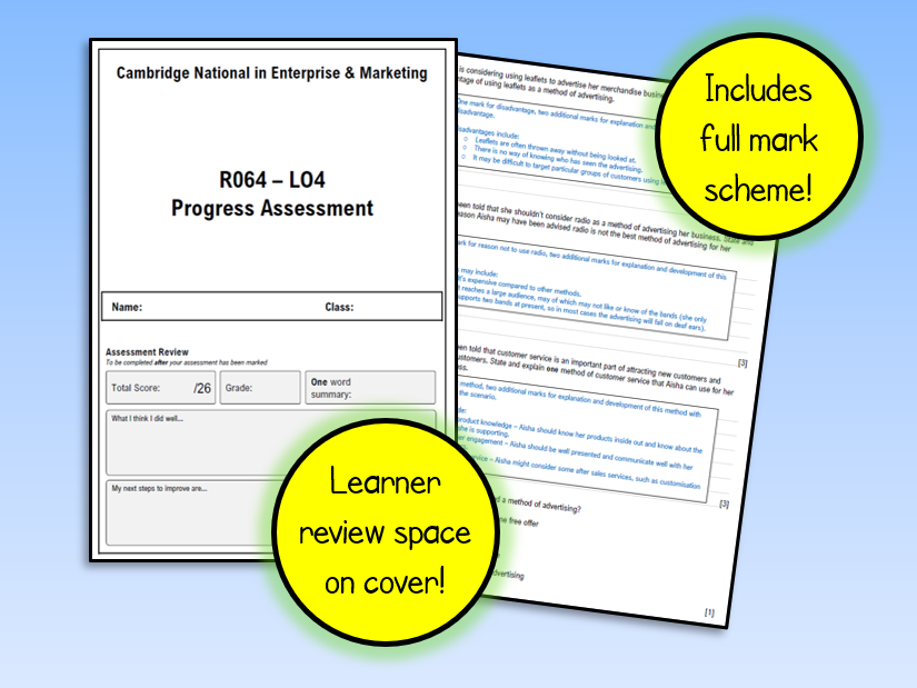 R064 LO4 Test - Cambridge National in Enterprise and Marketing