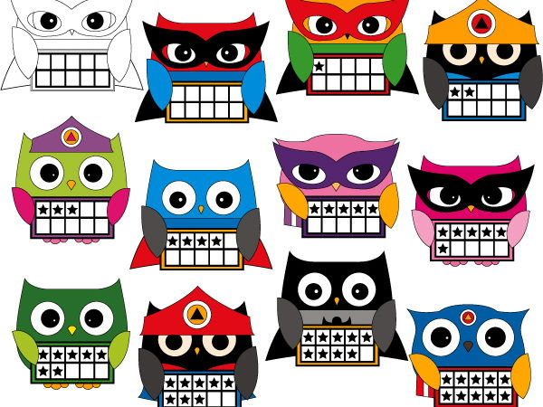Superhero Owl Ten Frames Clip art - Math clipart to teach counting 0 to 10