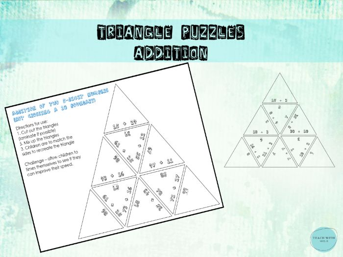 Addition Maths Triangle Puzzles (up to 100)