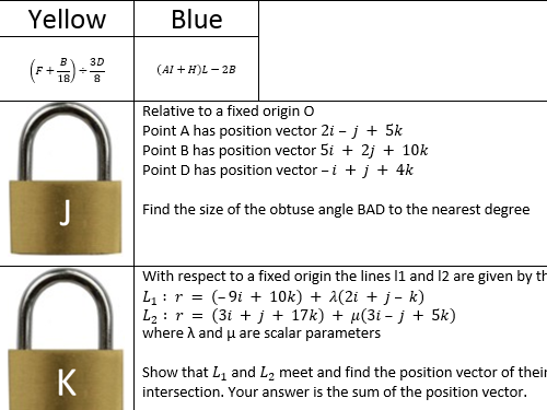 C4 Revision - Lock Puzzle with Answers