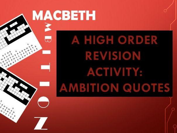 Macbeth: Ambition Quotes, Fun Revision Activity