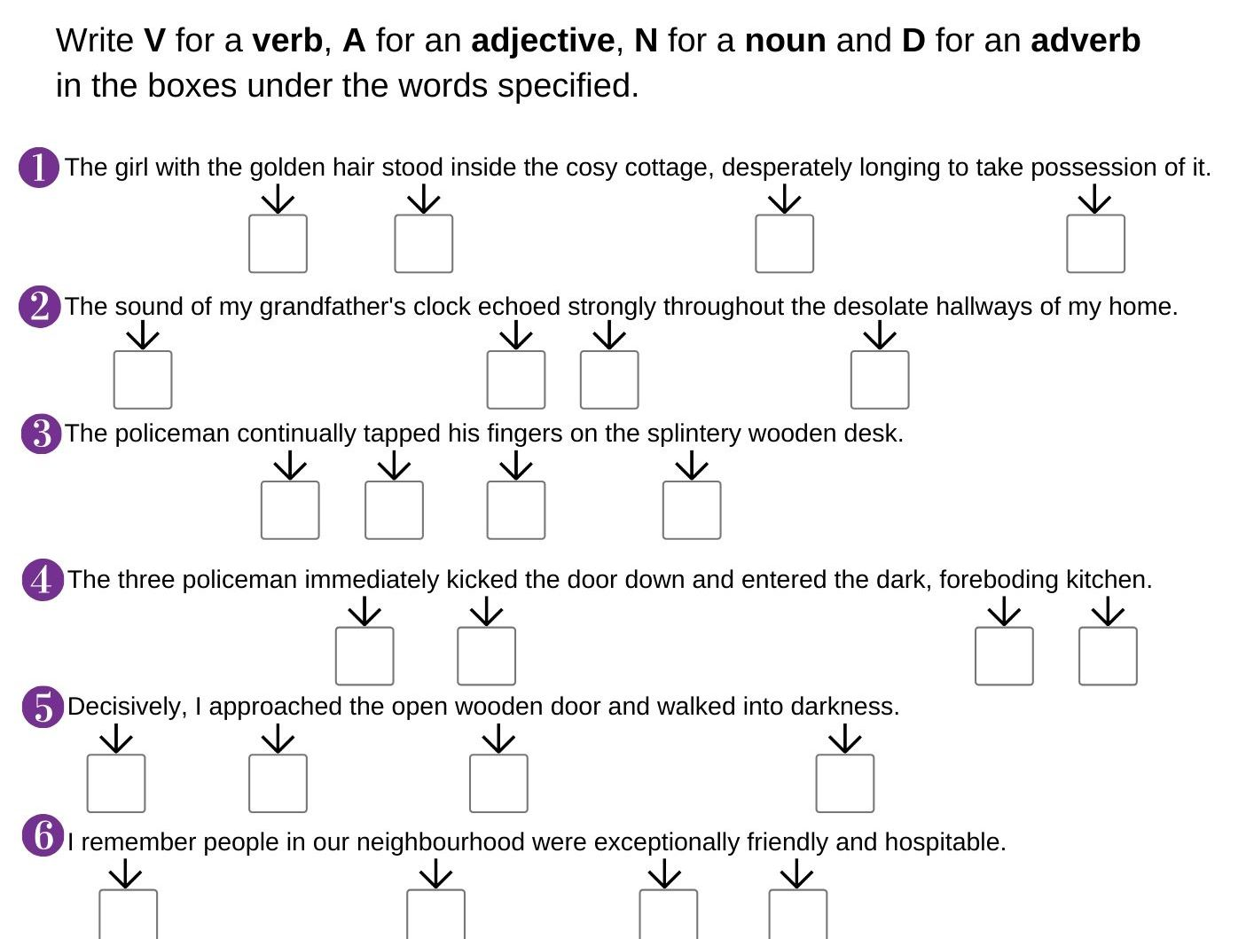 Identifying nouns, verbs, adjectives and adverbs