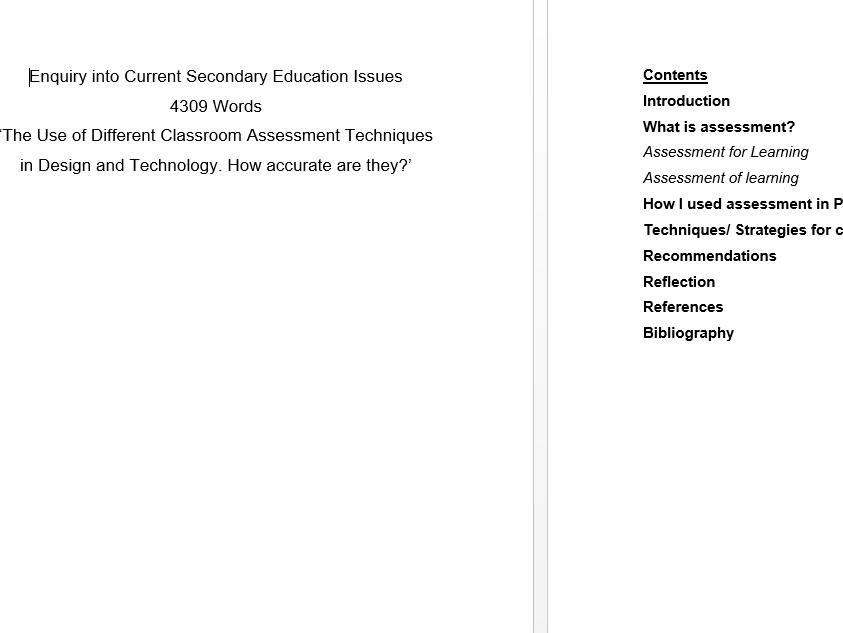 Assessment Essays for University Design Technology