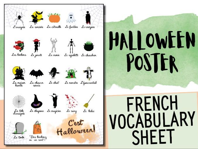 French Halloween Vocabulary Sheet - Poster with illustrations - Activity