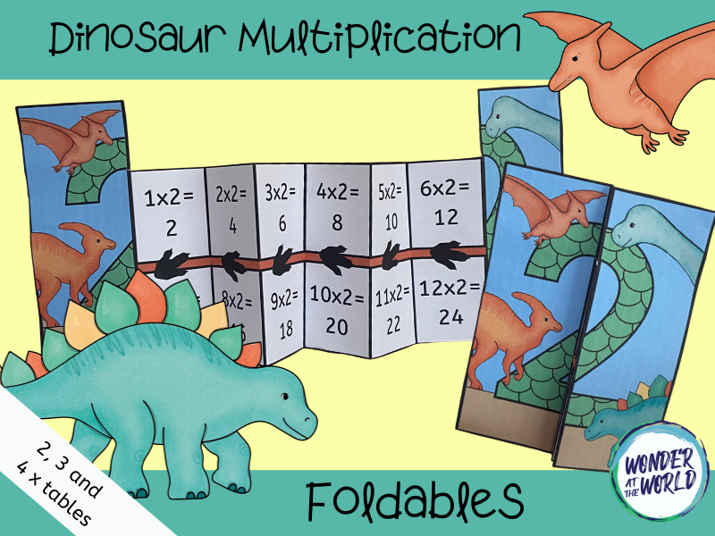 Dinosaur multiplication foldables for 2, 3 and 4 timetables