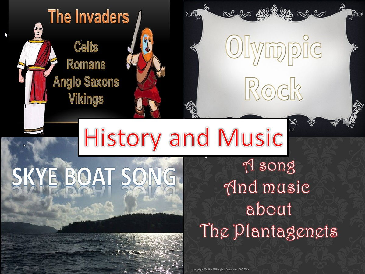 History through Music Videos, PPt, MP3s,percussion work.