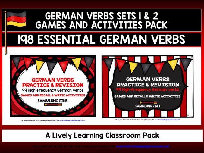 GERMAN 198 VERBS (1&2) - GAMES & ACTIVITIES  -198 HIGH-FREQUENCY VERBS