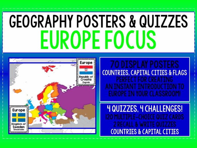 GEOGRAPHY - EUROPE COUNTRIES, CAPITALS, FLAGS POSTERS & 4 QUIZZES PACK