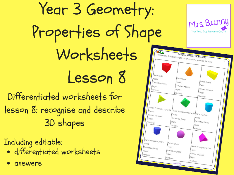8. Geometry: recognise and describe 3D shapes worksheets (Y3)