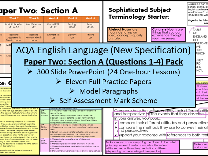 English Language Paper Two - Section A: Q1-4 Scheme Of Work (AQA, 9-1 GCSE)