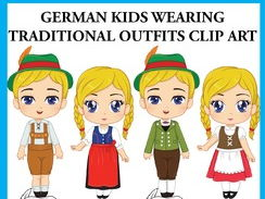German Kids wearing Traditional Outfits Clip Art