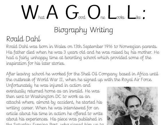 Roald Dahl Biography Writing WAGOLL