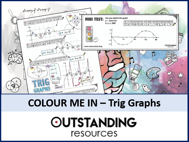 Colour Me In Sheets or Doodle Notes - Trig Graphs or Trig Functions