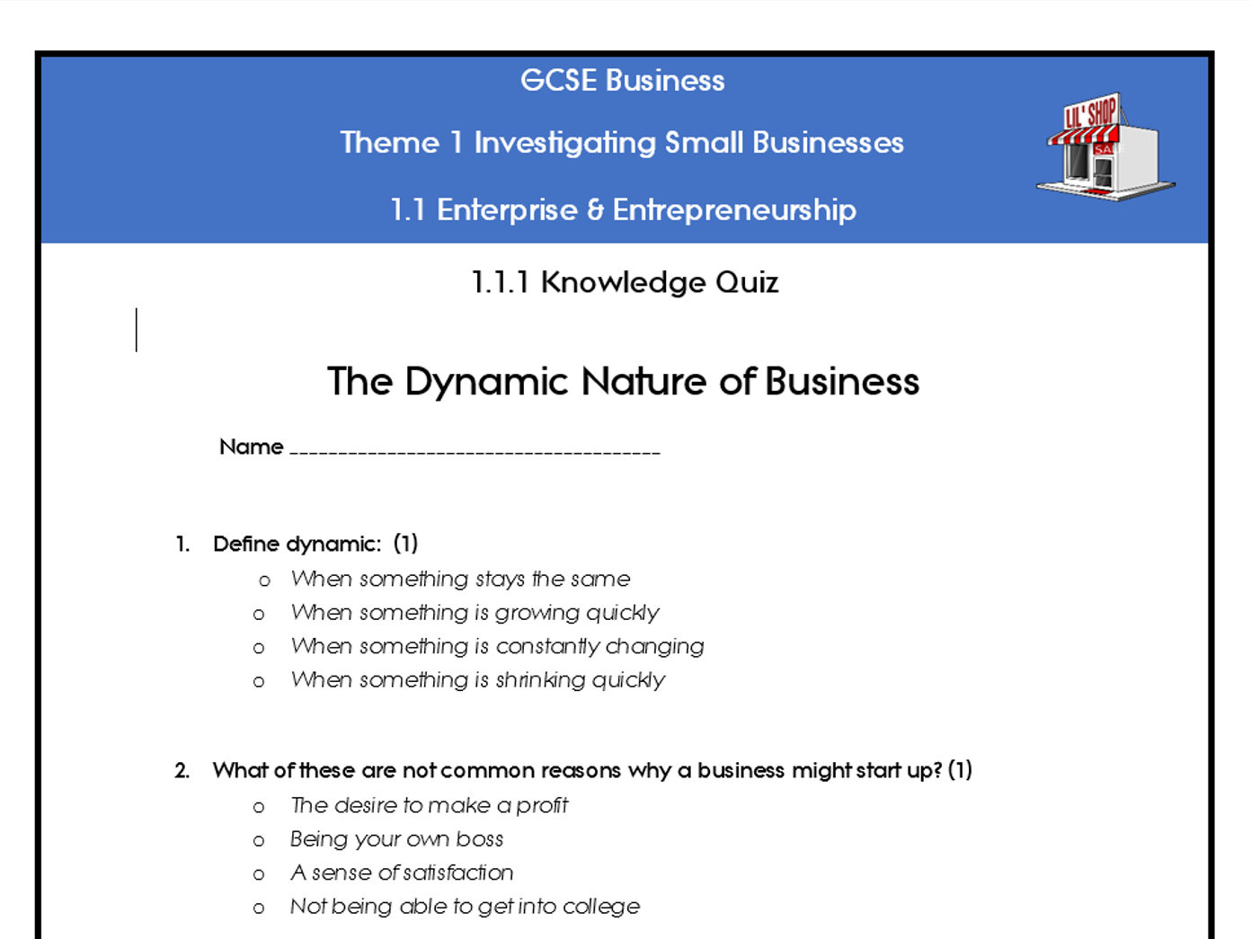 Edexcel GCSE Business 9-1 Theme 1 Quizzes and knowledge organisers