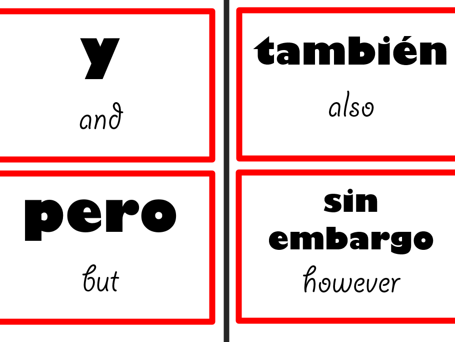 Spanish Display - Connectives, intensifiers and time phrases