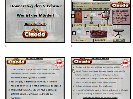 German Cluedo mystery lesson - House topic