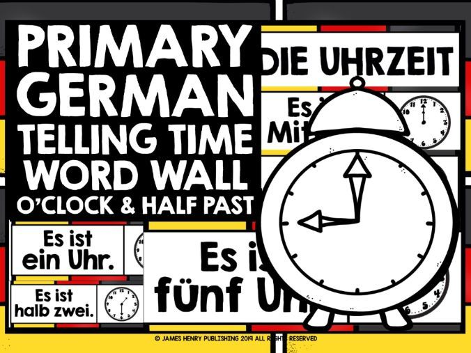 PRIMARY GERMAN TELLING TIME WORD WALL 1