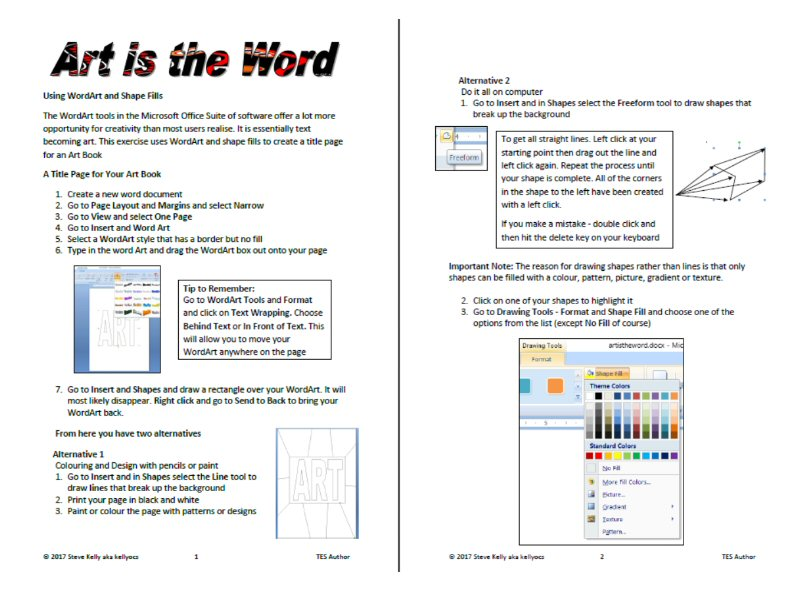Creating An Art Title Page In Microsoft Word Middle School Visual Arts