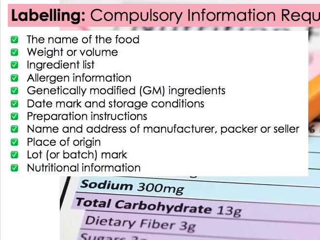 KS4 WJEC Hospitality Unit 01 LO4 - Food Labelling & Legislation