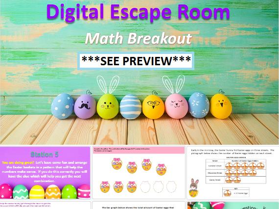2nd 3rd Grade Easter Math Digital Escape Room Fun Activity
