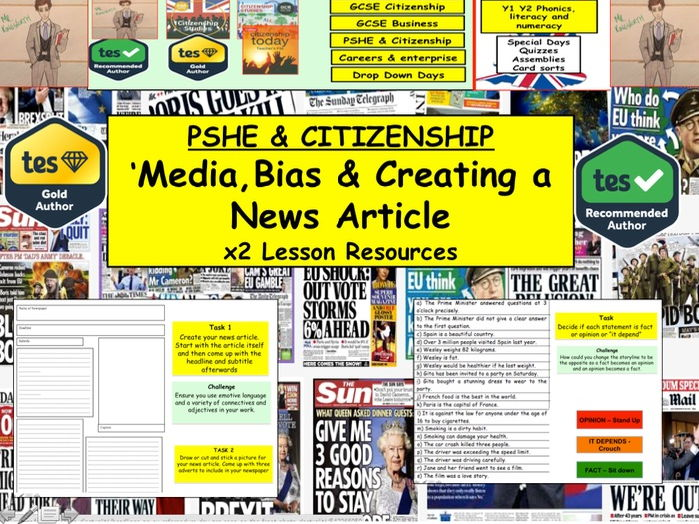 PSHE : ENGLISH : Newspapers, Bias and Creating a news article x2 Lessons Citizenship