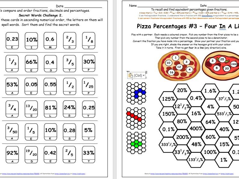 Percentages Y6 Equivalent Fractions Decimals Differentiated Challenges Free Taster